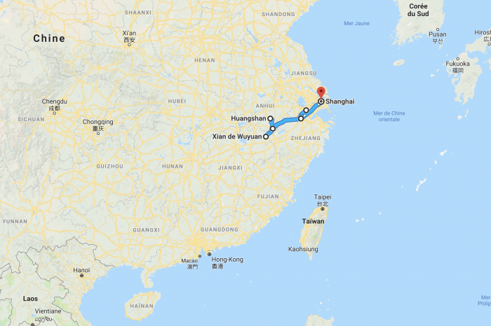 1 week traveling by bus and train from Shanghai to Wuyuan