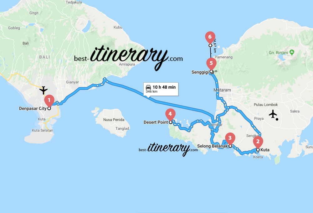 Carte Bali Road Trip.2 Week From Bali To Lombok Best Itinerary