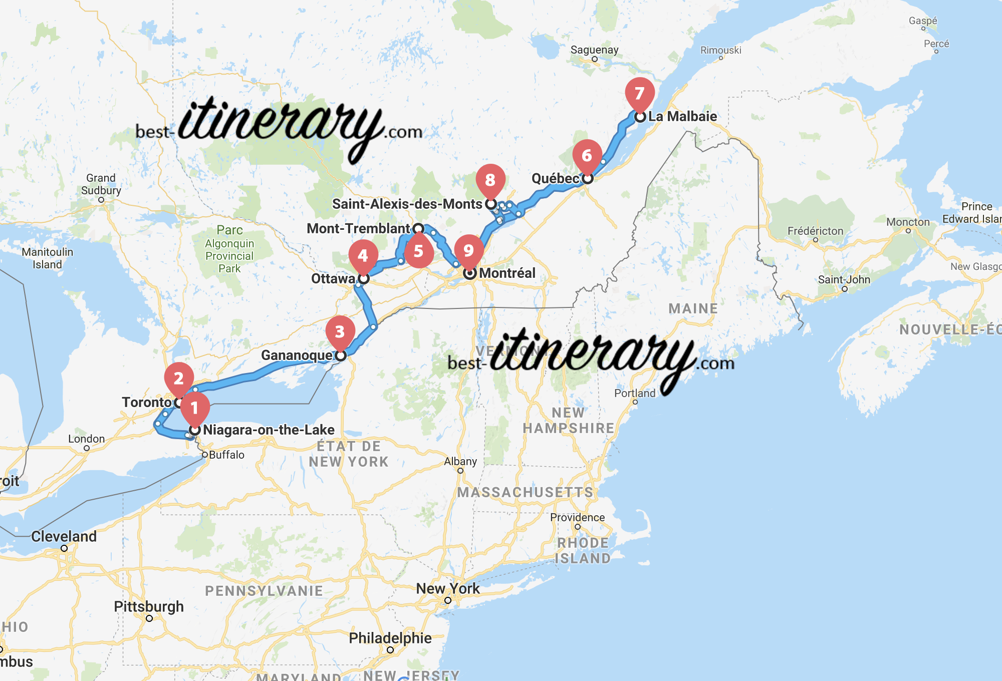 Carte Canada Ontario.2 Weeks Through Quebec And Ontario Best Itinerary