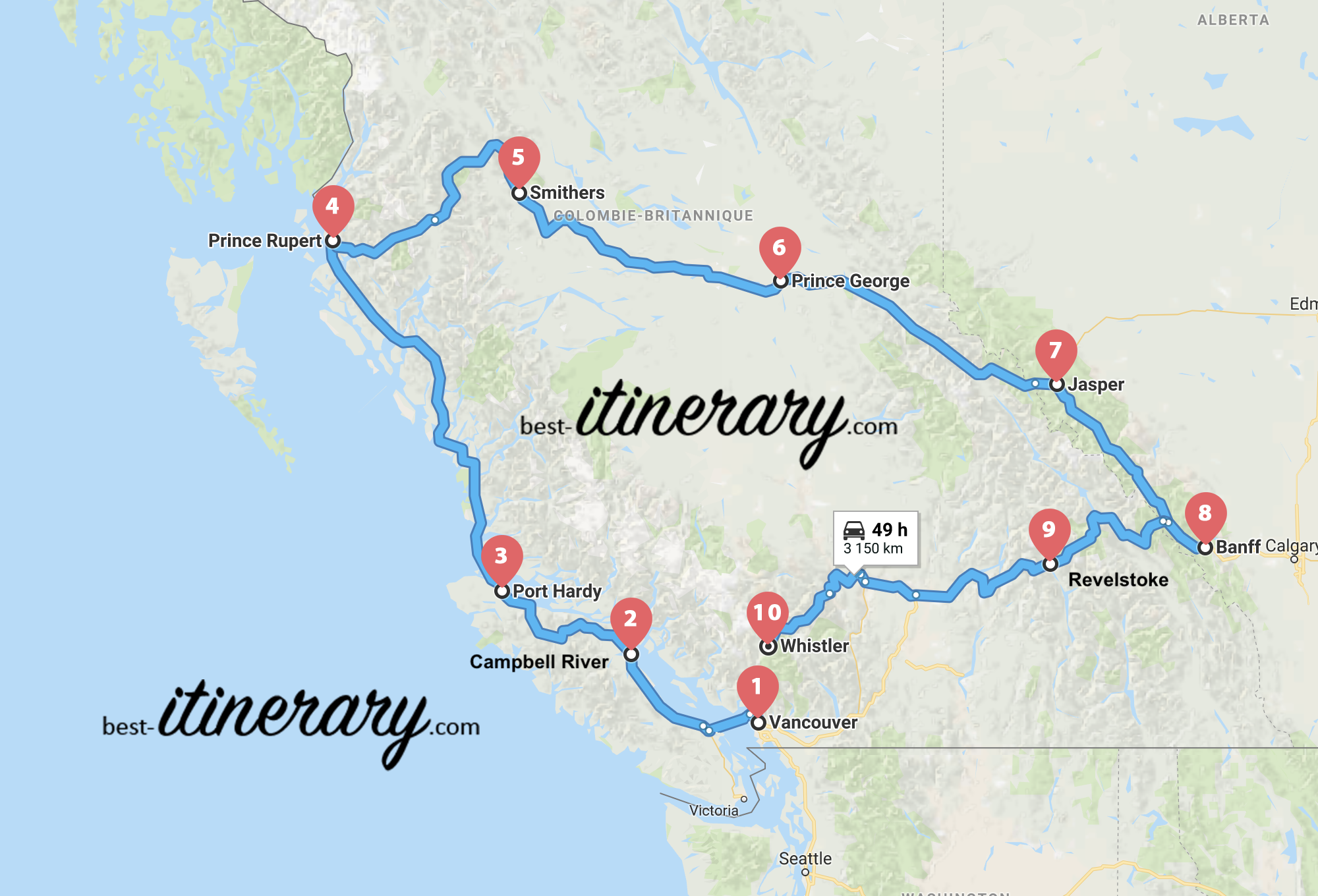 Carte West Canada.3 Weeks In Western Canada Best Itinerary