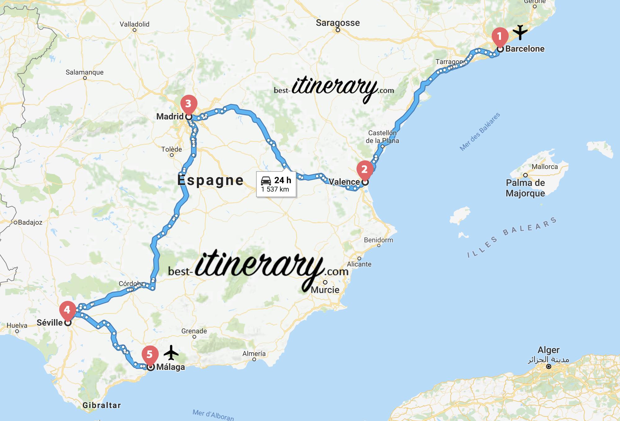 Carte De Lespagne Barcelone.Visiter L Espagne En 12 Jours Best Itinerary