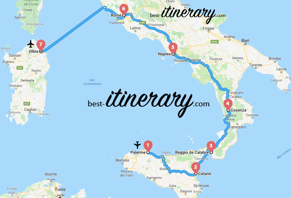 Map Of South Italy.2 Weeks In The South Of Italy And Sardinia Best Itinerary