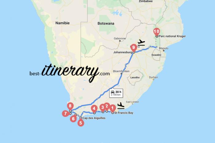 Itinéraires de voyage en Afrique du Sud