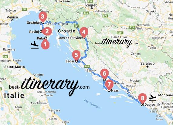 Itinéraire de 2 semaines en Croatie